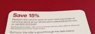 Crate and & Barrel 15% entire order 1coupon (includ furnitures)