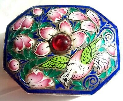 "Antique Persian/Indian ""Emerald Dove"" Bird & Floral Enamel on Solid Silver Box"
