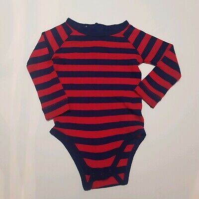 Baby Blue And Red Stripe Wool Romper Approx Size 0