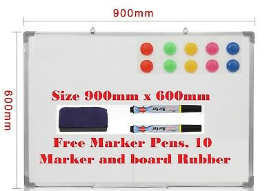 Whiteboard Magnetic Dry Wipe Drawing Board & Eraser Office Notice 900X600Mm