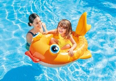 Yellow Fish Childrens Inflatable Swimming Pool Water Ride On Boat Float 59380NP