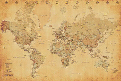 World Map Vintage Antique Style Mercator Projection 91.5 X 61Cm Maxi Poster