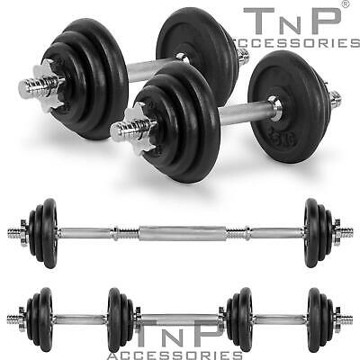 20KG Adjustable Cast Iron Dumbbell / Barbell Set For Weight Lifting Training TnP