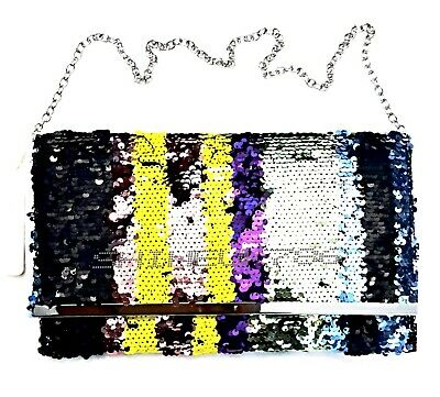PRIMARK MULTI  COLOUR Ladies/ Girls GLAMOUR Fully SEQUINNED CLUTCH BAG BNWT