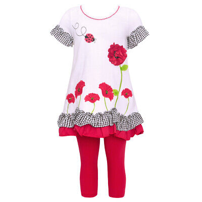9cec9fa3c BONNIE JEAN LITTLE Girls White Red Floral Ruffle 2 Pc Legging Outfit ...