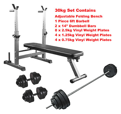 Weight Bench And Weight Barbell Dumbbell Set 30kg Folding & Adjustable Bench Set