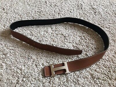 Authentic Hermes H Belt - Silver H, Brown and Black Leather Reversible Size  85 a208b4c7a98