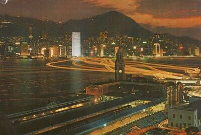 Hong Kong By Night Postaly Used Postcard W Stamps
