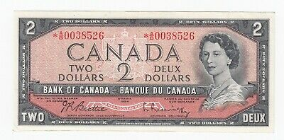 Bank of Canada $2, 1954 Replacement Note - *A/B0038526 - BC-38bA