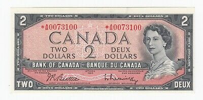 Bank of Canada $2, 1954 Replacement Note - *A/B0073100 - BC-38bA