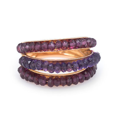 Le Gi Amethyst Pink Tourmaline 3 Tier Dome Ring Band Vintage 18k Yellow Gold