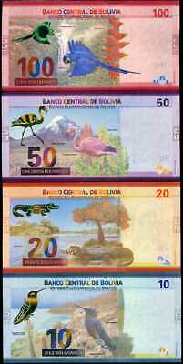 Bolivia Set 4 Unc 10 20 50 100 Bolivianos 2018 2019 P New Design Unc