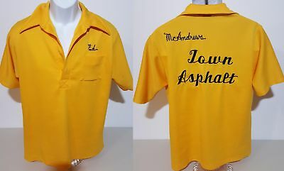 McAndrews Town Asphalt VTG 70s Angeltown Yellow Bowling Polo Shirt Mens XL Fit L