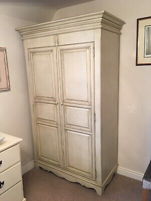 Elegant French Antique-style Shabby Chic Double Wardrobe / Armoire in Off-white