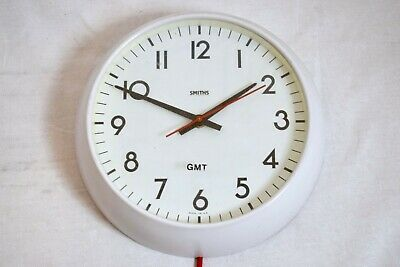 """VINTAGE 1980s SMITHS FACTORY/ INDUSTRIAL 12"""" ELECTRIC WALL CLOCK"""