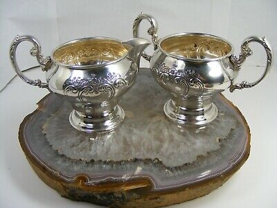 Gorham Chantilly Countess Sterling Silver Creamer and Open Sugar 1009 & 1010