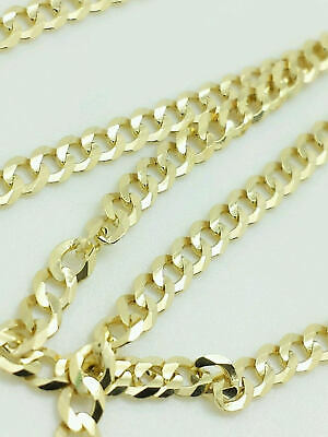"14k Solid Yellow Gold Cuban Link Chain Necklace 16"" - 30"" Men's Women Sizes"