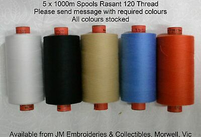 Rasant 120 Thread 5 x 1000m Spools Sewing & Quilting Thread Message With Colours