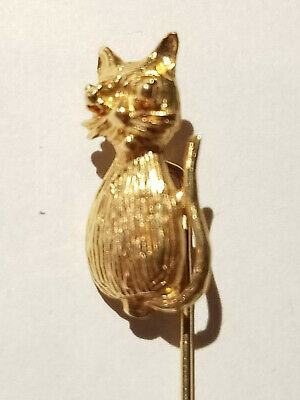 Vintage 14k Yellow Gold Cat Stick Pin