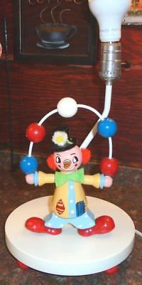Vintage Wooden Hand Painted Clown Light UP Nose Juggling Portable Lamp Night