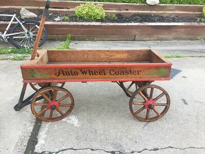 Antique Auto Wheel Coaster Stencil Childs Wood Wagon Wbrake