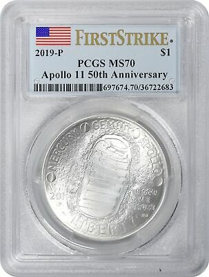 2019-P Apollo 11 50th Anniversary Comm Silver Dollar PCGS MS70 First Strike Flag