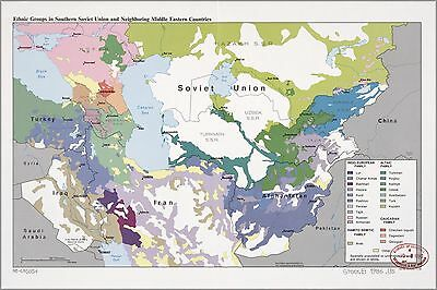 Poster, Many Sizes; Cia Ethnic Map  S Ussr Iraq Iran Afghanistan 1986