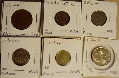COOL Lot of 40 World Coins- Carded-All Different -No Repeats