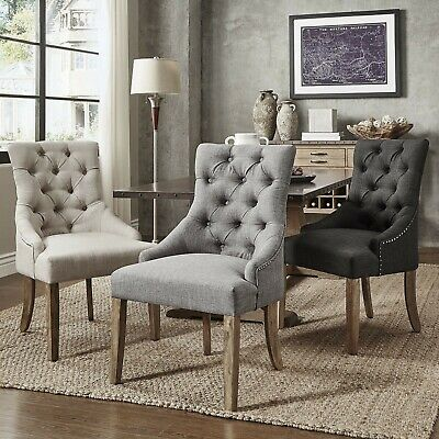Set of 2 Linen Dining Accent Chairs Upholstered Fabric Pair Wing Back Antique