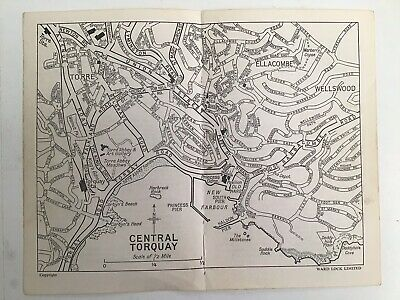 Central Torquay Street Plan, c1960 Vintage Map, Bartholomew, Original, Devon