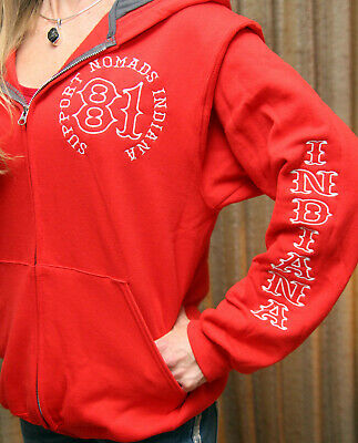 OFFICIAL HELLS ANGELS SUPPORT 81 Nomads Indiana Red Custom Embroidery Zip  Hoodie