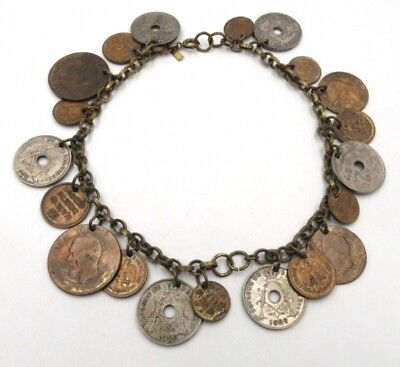 Reduced Vintage Monet Old coins necklace, heavy, collectible, boho
