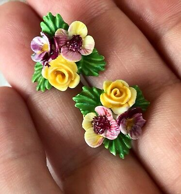 Vintage Denton England Fine Bone China Jewelry Floral Earrings Pair Easter Gift