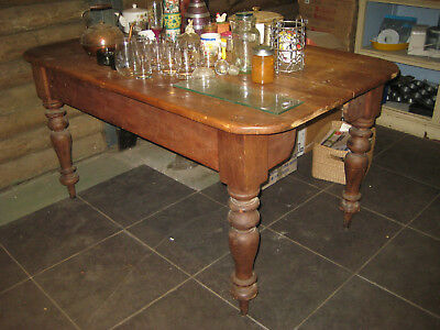 Antique Australian country kitchen table with cedar legs/pine top - Blue Mtns