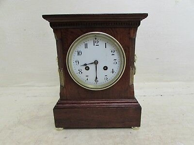 Antique AD Mougin Footed Chiming Mantel Clock With Brass Lion Head Handles