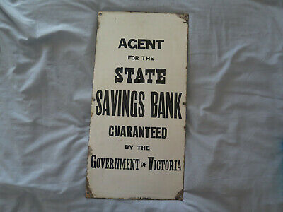 AGENT STATE SAVINGS BANK GOVERNMENT VICTORIA ENAMEL SIGN c1920s SIMPSON ADELAIDE