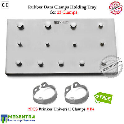 Restorative Dental Universal B4 Clamps Rubber Dam 13 Clamps Holding Tray Plate