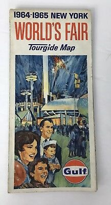 New York World's Fair 1964-1965 TOURGIDE Map GULF VTG Road Map Of NYC Vicinity