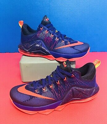 new style 330ae 08ceb Nike LeBron XII Low Basketball Shoes Court Purple Laser Orange 724557-565  Sz 9.5