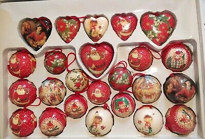 Vintage Christmas Paper Mache Decoupage  Ornaments balls hearts santa bear child