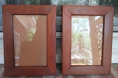Antique Pair MAPLE Or Pine Wood Small Miniature Picture FRAMES 4 x 6 in. fit