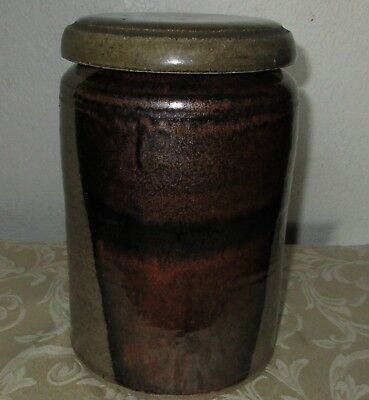 "Mid Century Studio Pottery Large Vessel/canister With Lid 9"" H-20"" Cir."