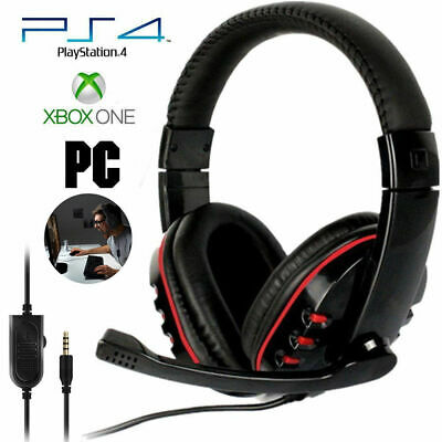 Pro Gaming Headset for PS4, Xbox One & PC's Stereo Sound - Mic - Red