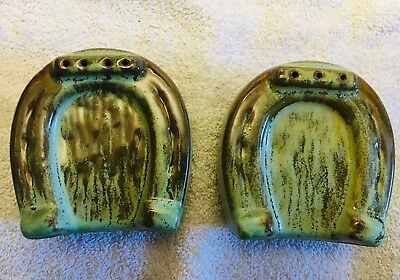 Vintage FRANKOMA Pottery Horseshoe SALT 'n PEPPER SHAKERS Horse Shoe Green