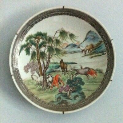 Vintage 1920's Chinese Porcelain Plate Decorated with Wild Horses in Landscape