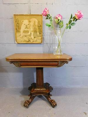 A GOOD EARLY 19th CENTURY ANTIQUE MAHOGANY FOLD OVER TEA SIDE TABLE