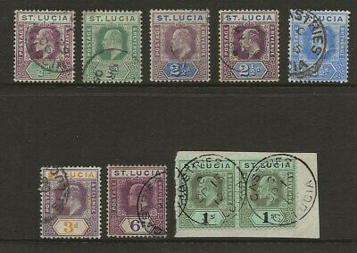 St Lucia  Sel.of Used From 1904/10 Ed Vii Wmk Mult Crown Ca Set   Good/very Fine