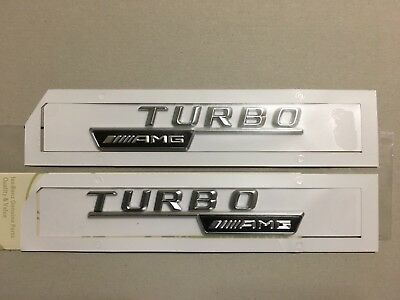 2x Mercedes-Benz  AMG Turbo Badge Emblem Decals Chrome