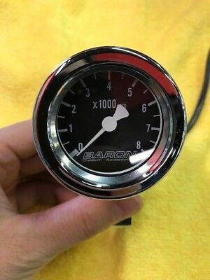 Baron Custom Accessories - BA-7570-01 - Bullet Tachometer 1in Black Face Tach