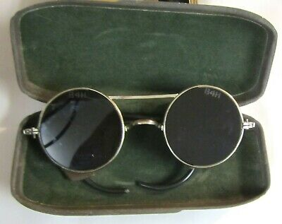 1920s? Torching/Welding Goggles Safety Glasses Green Lens Leather Side Shields